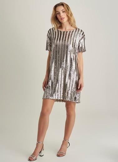 NGSTYLE Payetli Mini Elbise Gri